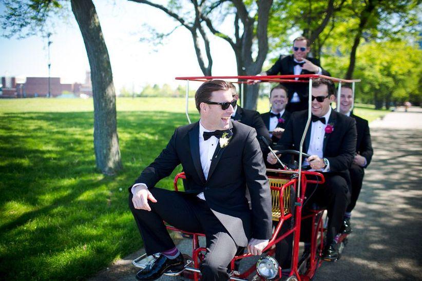 groomsmen riding a bike - allori photography