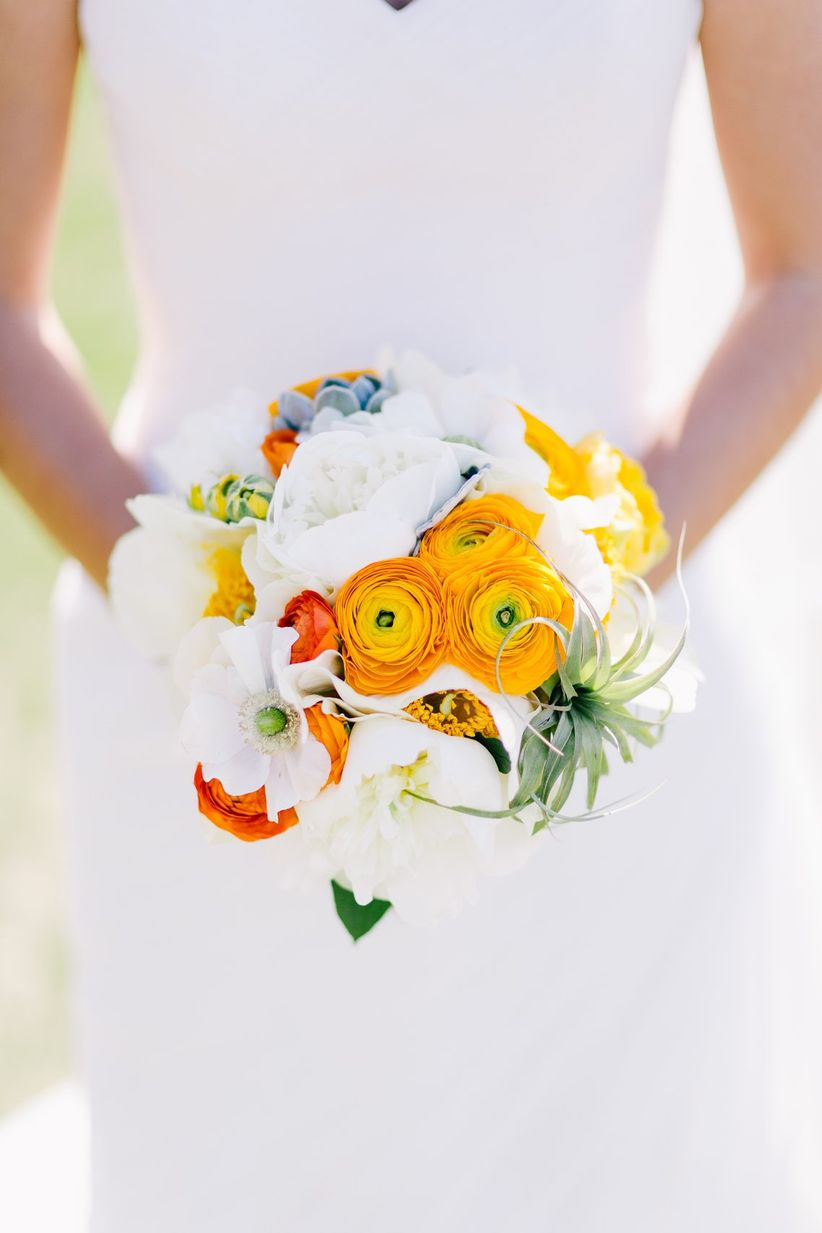 yellow ranunculus spring bouquet