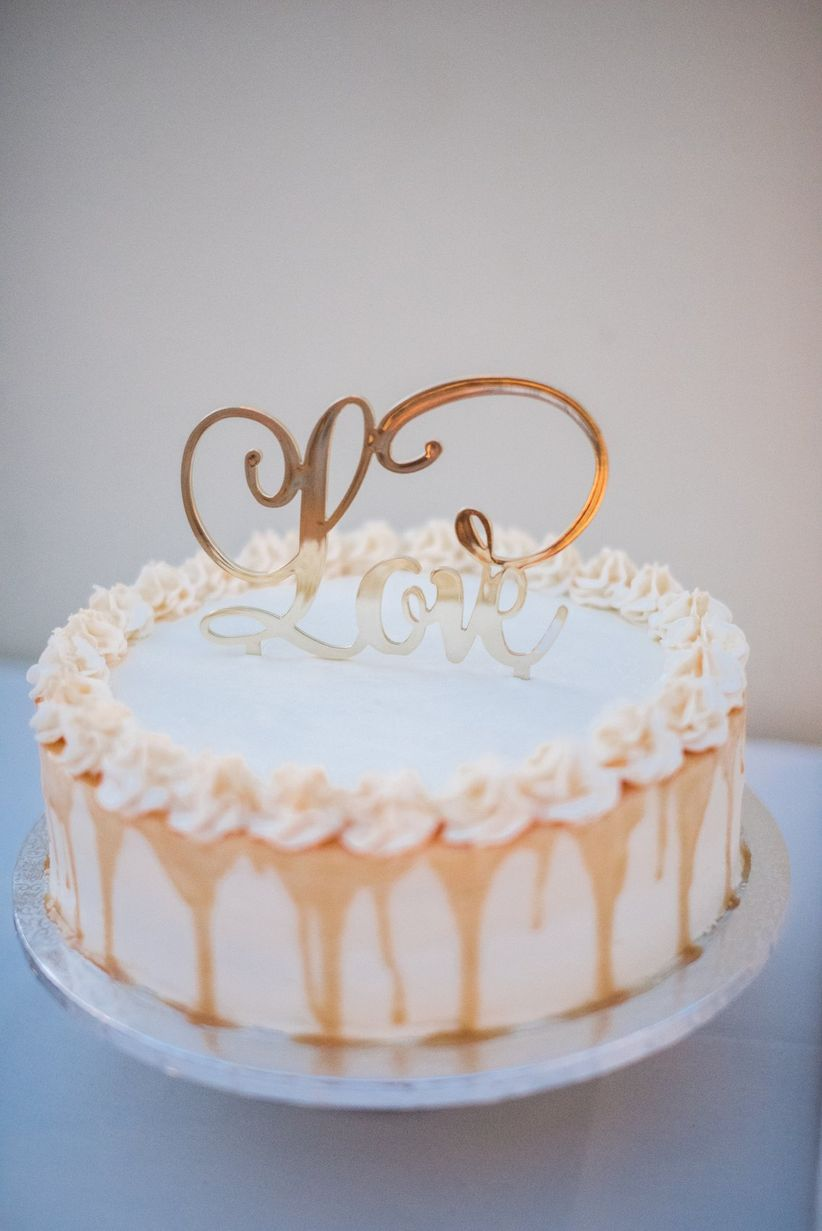 rose gold wedding cake topper
