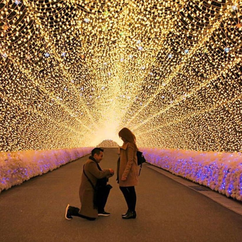 proposal in tunnel of lights Japan