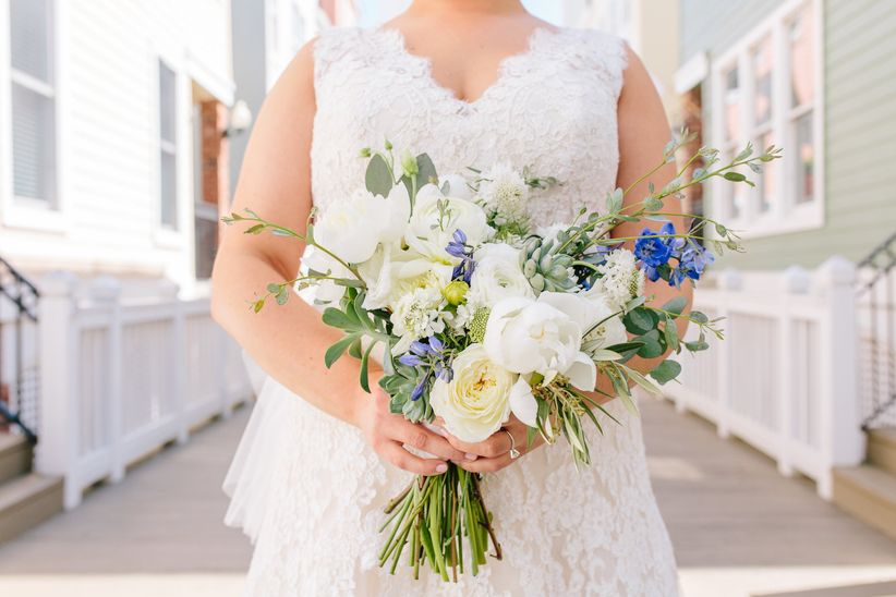 whimsical white and blue bouquet