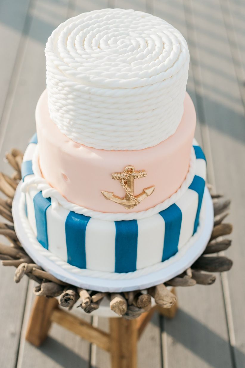 nautical pink and blue wedding cake - stephanie barnes photography