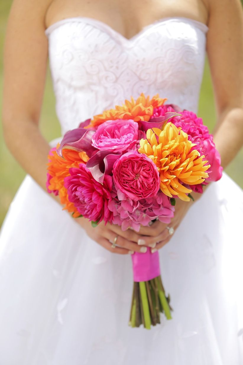 Fuchsia and orange bouquet