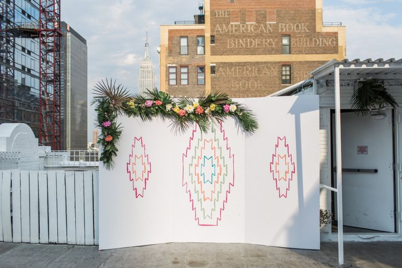 patterned ceremony backdrop