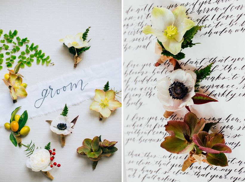 modern groom boutonnieres with hellebores and anemones