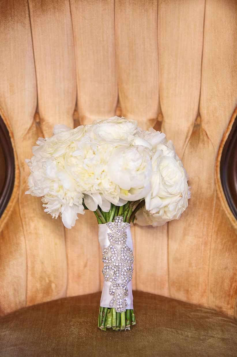 white peony bouquet with crystal embellishment