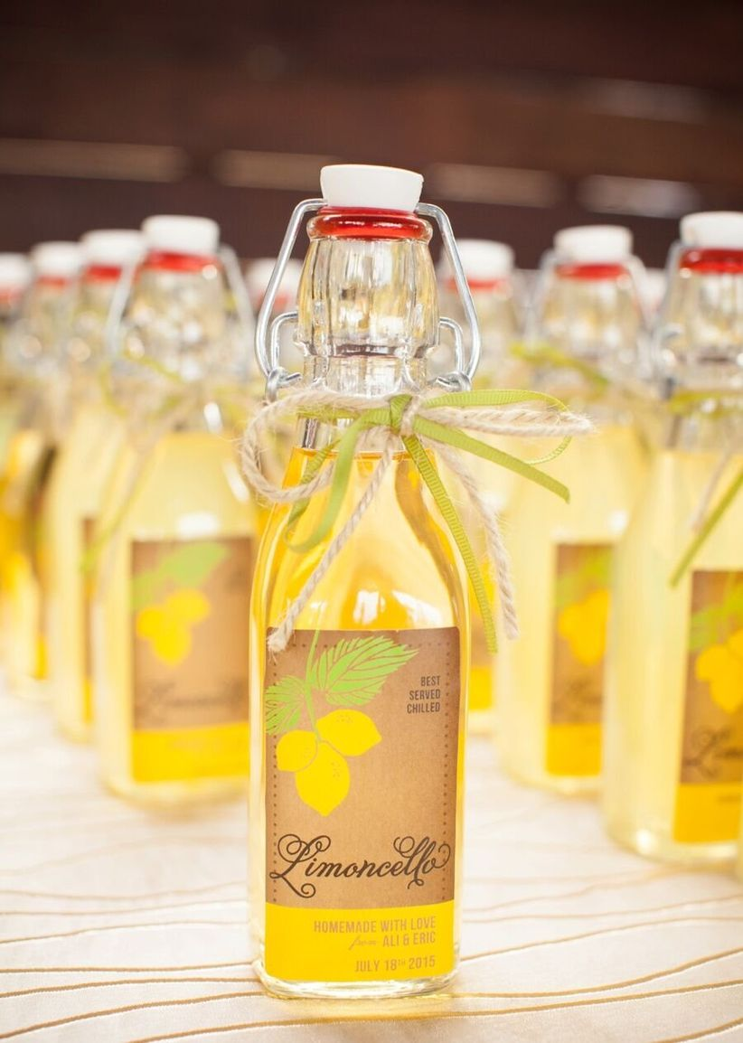 bottles of limoncello favors - samantha bonpensiero photography