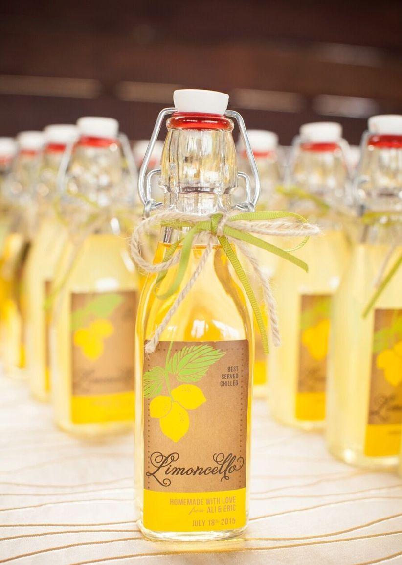 bottles of limoncello favors - samantha bonpensiero photography