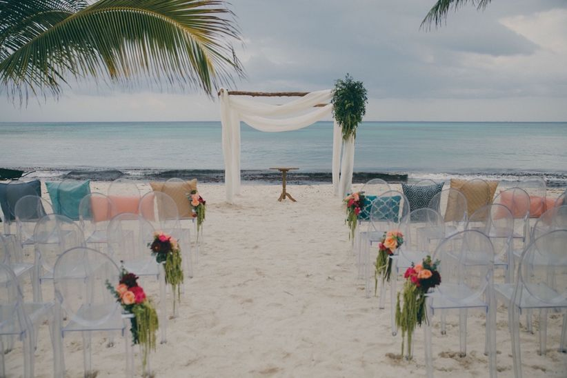 beach ceremony greenery