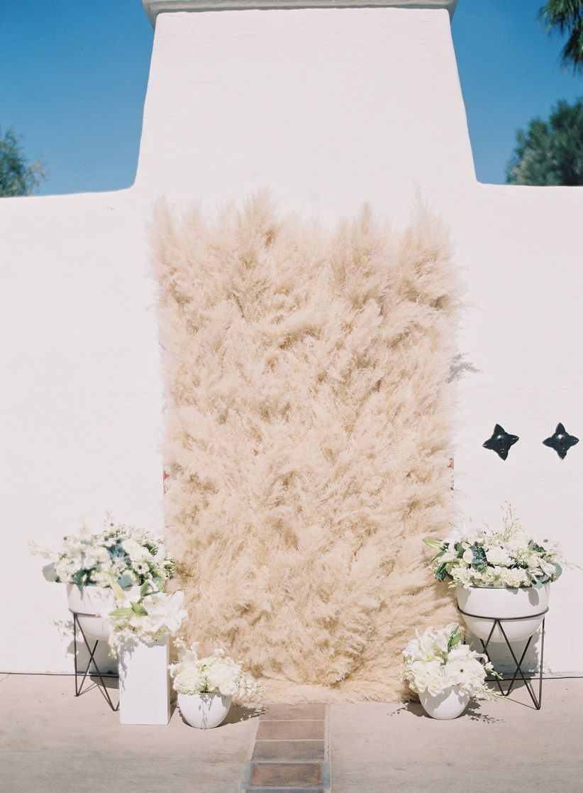 grass ceremony wall boho chic