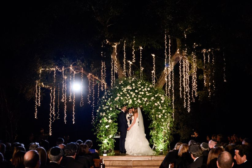 glam ceremony space greenery trees