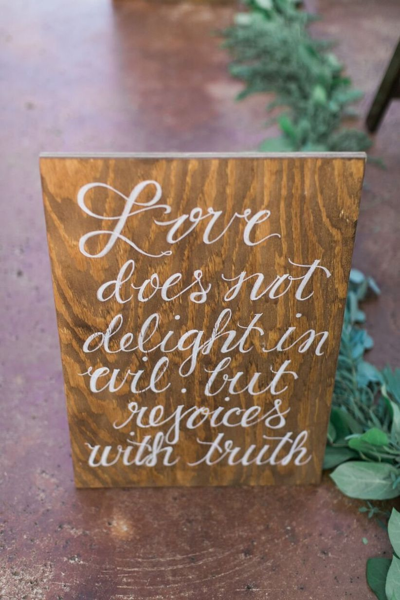 bible verse calligraphed aisle marker