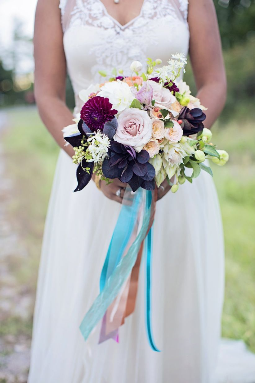jewel tone fall bouquet with long ribbons