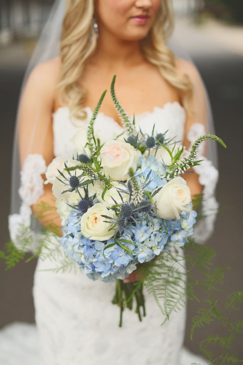blue hydrangea and thistle bouquet
