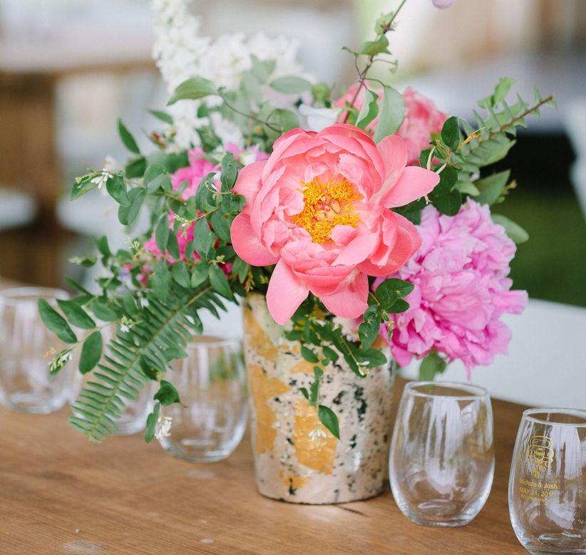 13 popular wedding centerpiece vessels weddingwire pink peony centerpiece in votive vase junglespirit Image collections