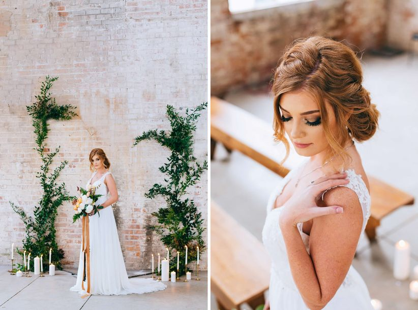 bride wearing romantic flowy wedding dress with hair in a loose updo