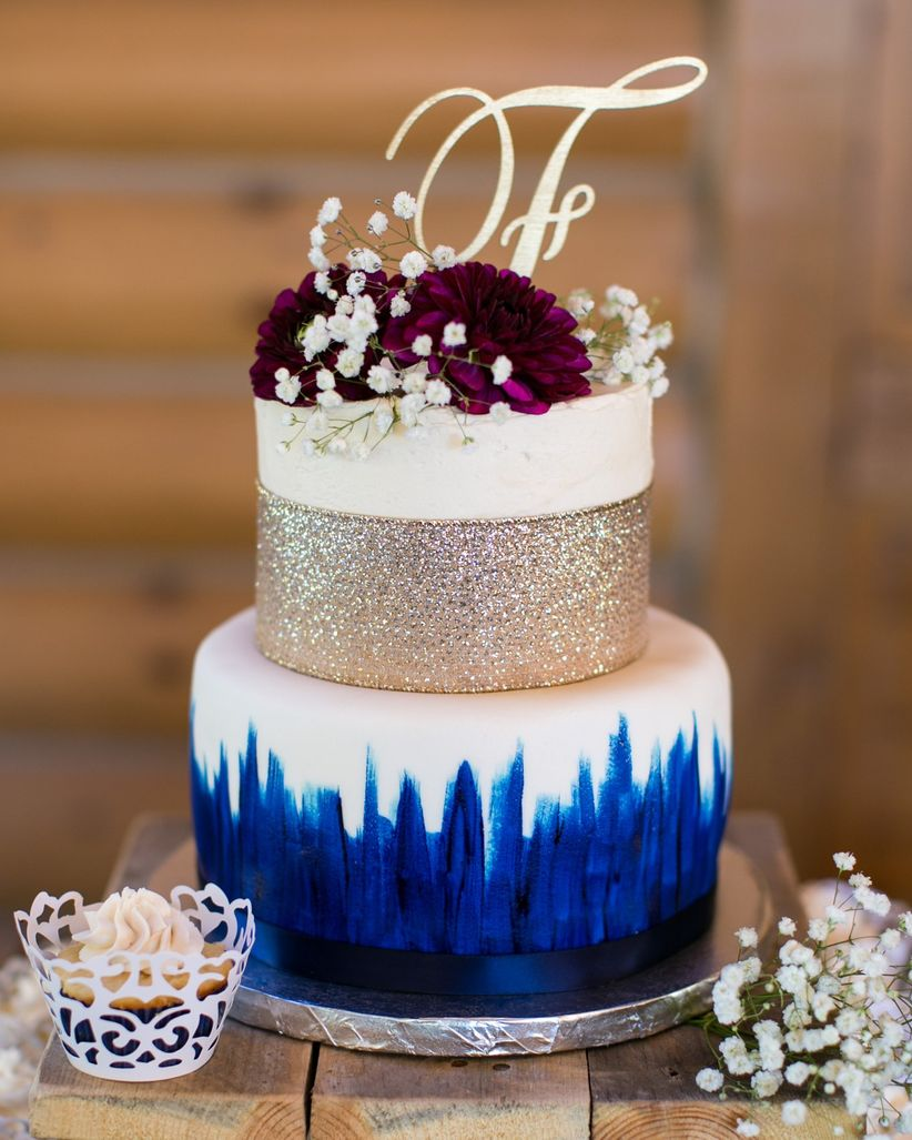 glam blue and gold watercolor cake - cadey reisner weddings