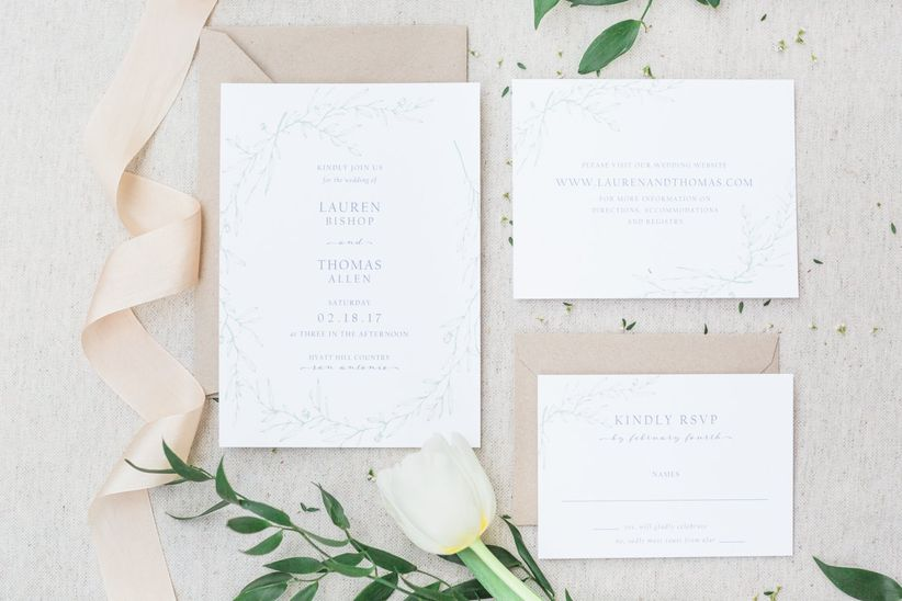 spring wedding invitations with blush and greenery