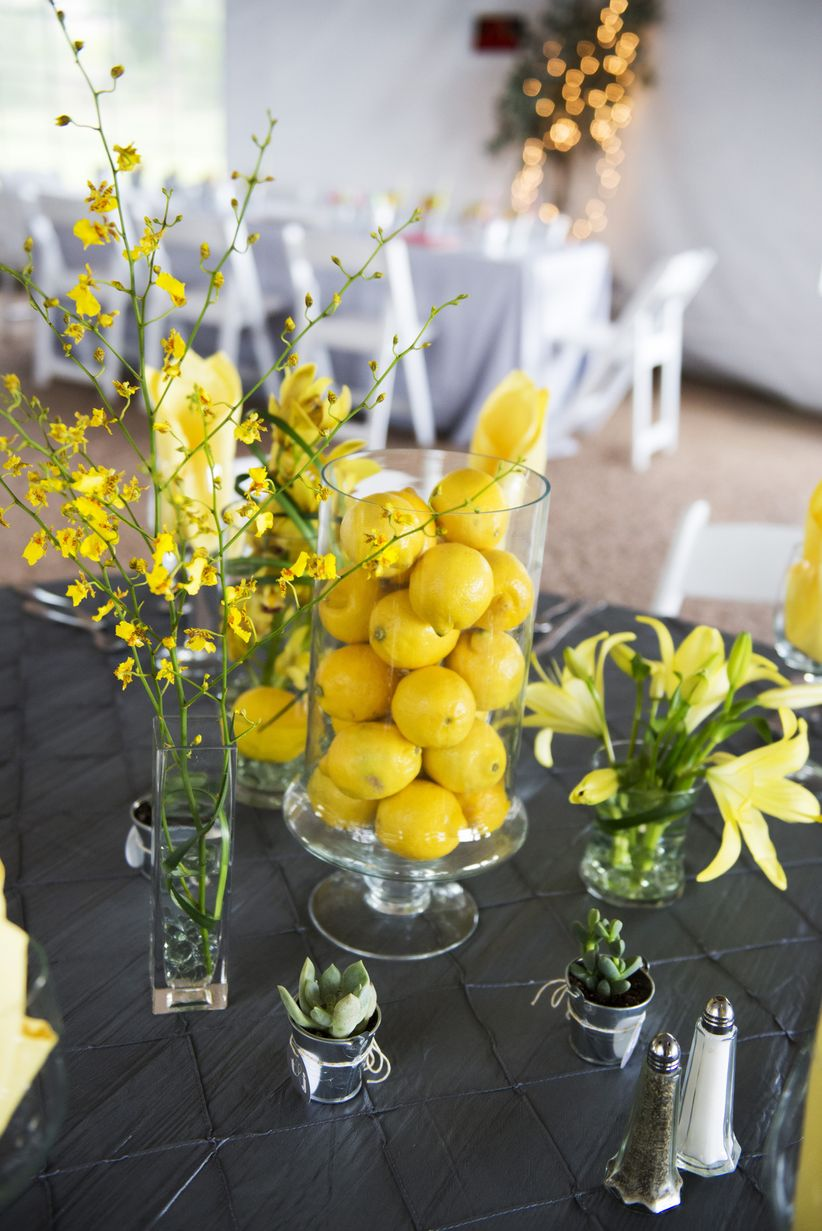 yellow centerpiece with lemons