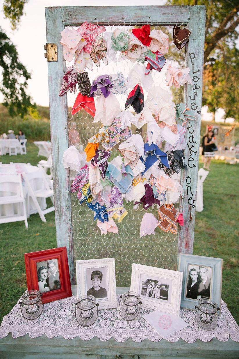 vintage handkerchief favor display <li>monica roberts photography