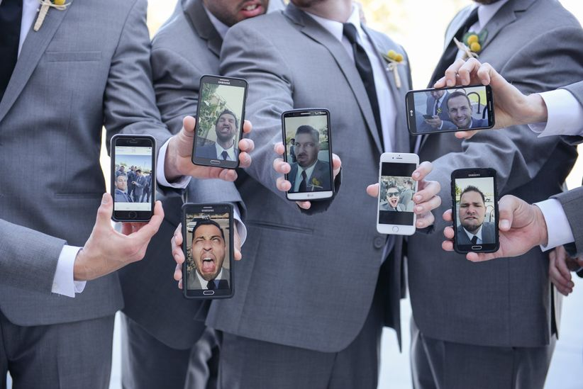 groomsmen taking selfies - monique hessler photography