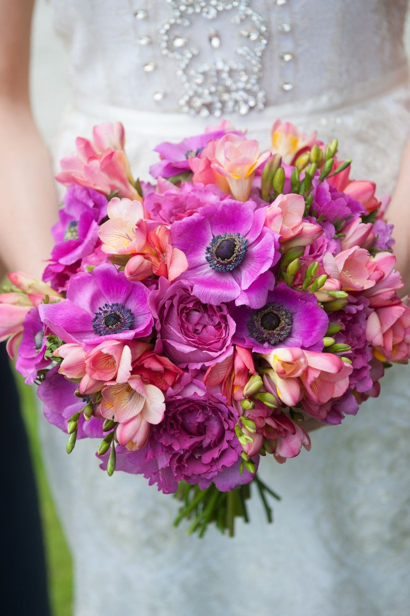 pink and purple spring bouquet anemones freesias - rachel robertson photography