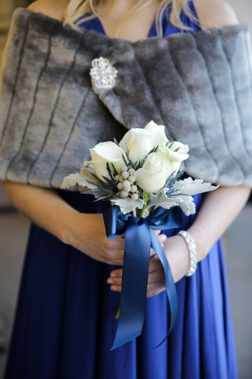 winter bridesmaid bouquet with satin bow