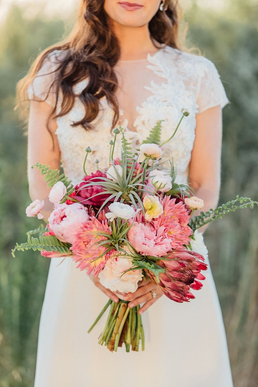 modern boho protea bouquet - smashing weddings