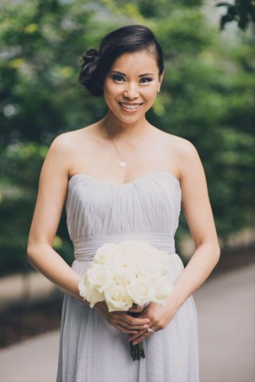 bridesmaid with a side bun updo