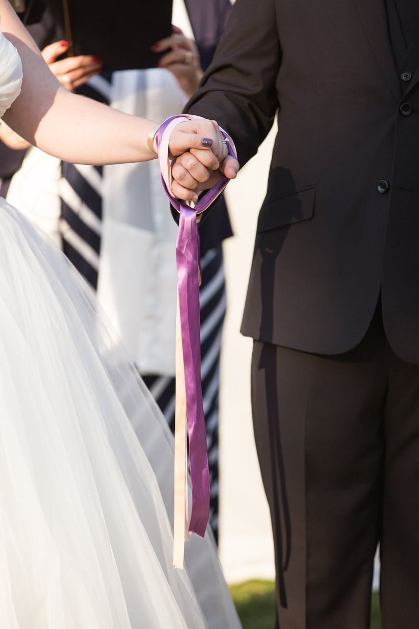 bride and groom handfasting ritual <li>grace hill photography