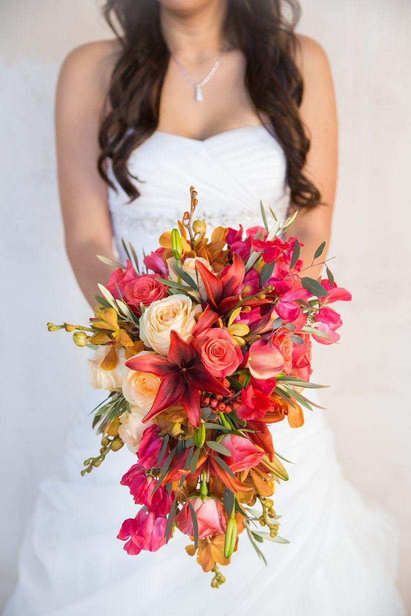 pink and orange cascade bouquet - kiel rucker photography