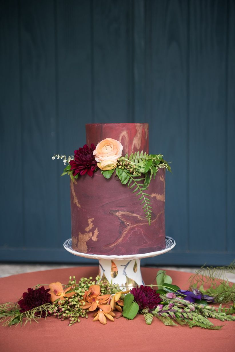 burgundy and gold marble cake mandi mitchell photography