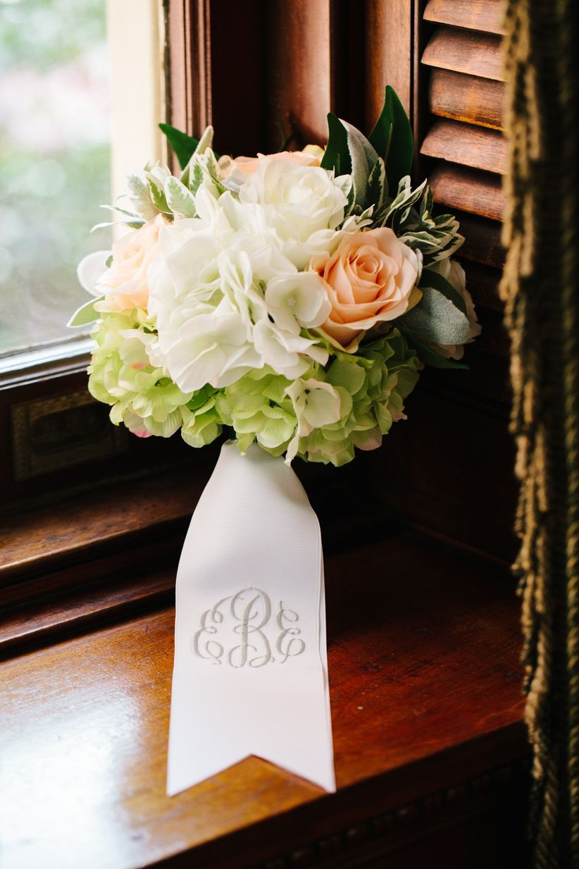 classic spring bouquet with monogrammed ribbon