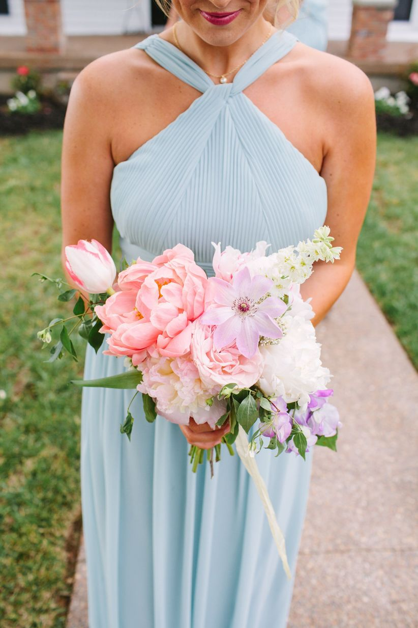 pink spring bridesmaid bouquet