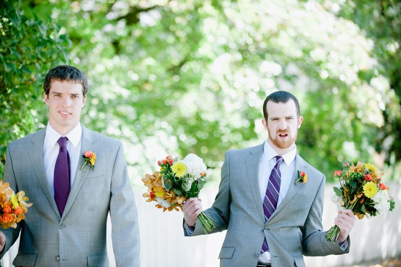 groomsmen holding bouquets - off beet productions