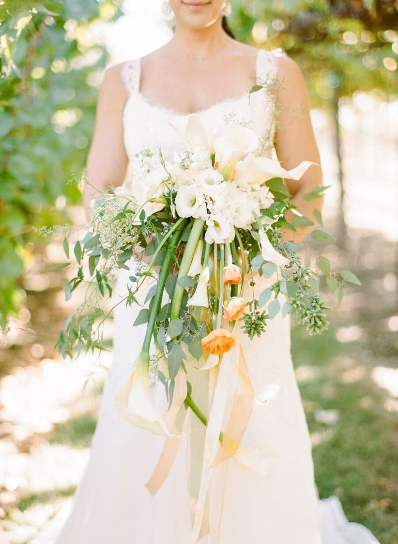 oversized pastel green and white bouquet with ribbons - rebecca yale photography