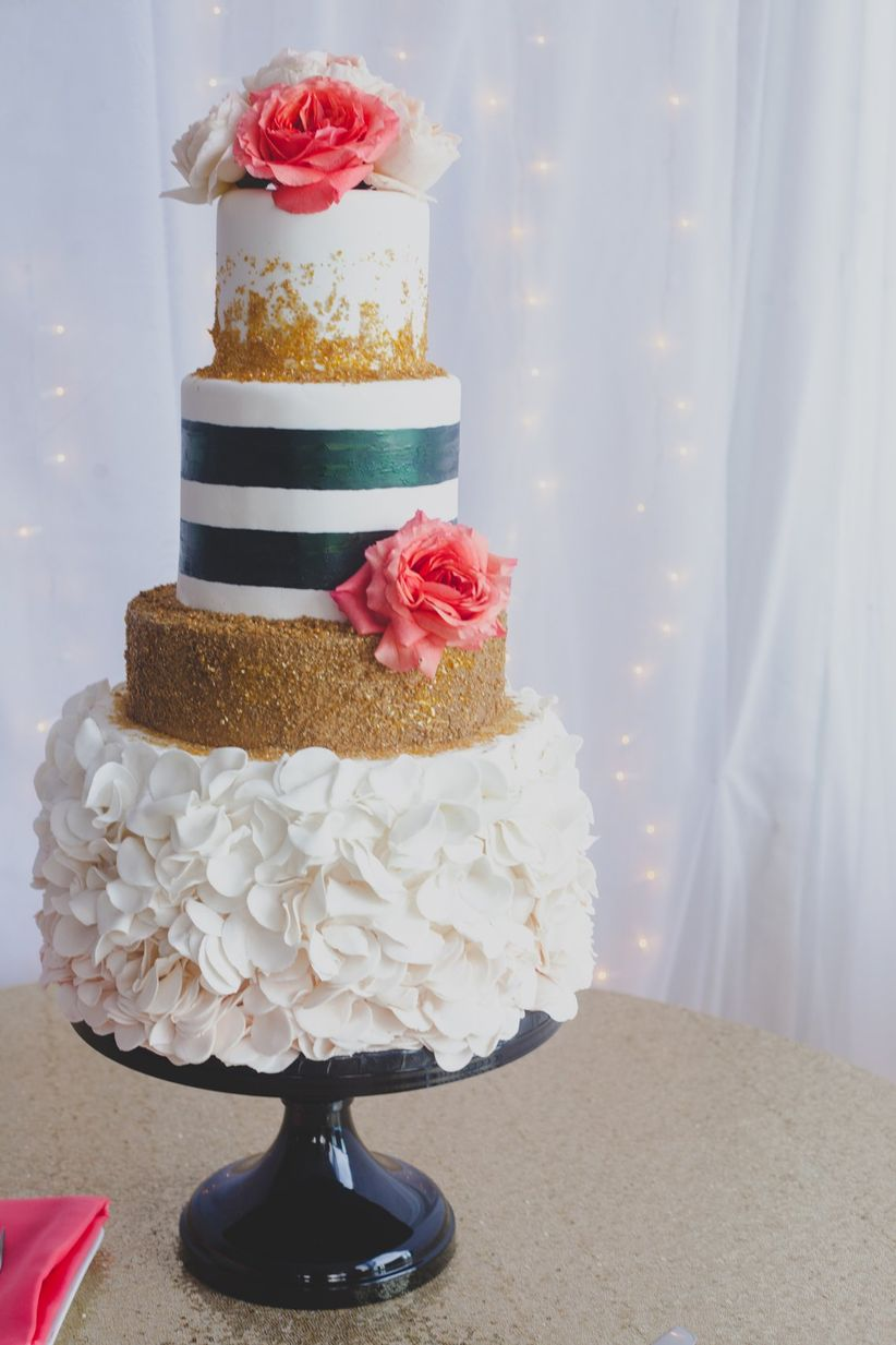 metallic wedding cake