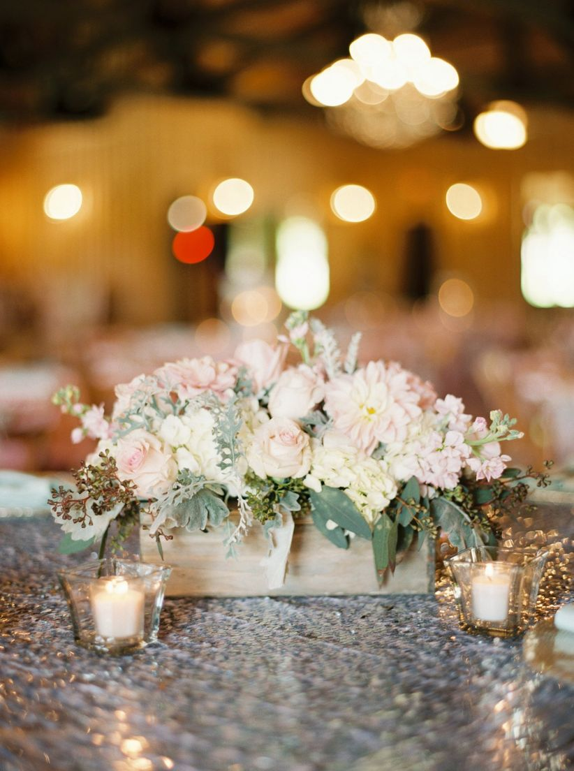 rustic chic centerpiece with roses and greenery