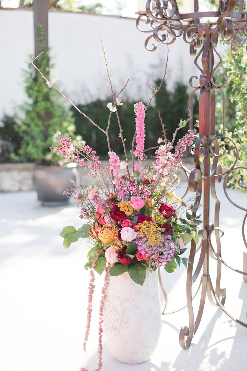 colorful altar decorations for outdoor wedding ceremony