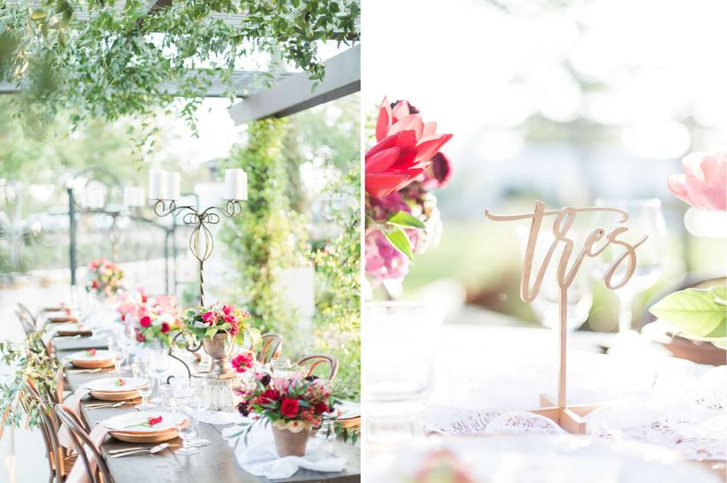 centerpieces and table number signs for romantic garden wedding