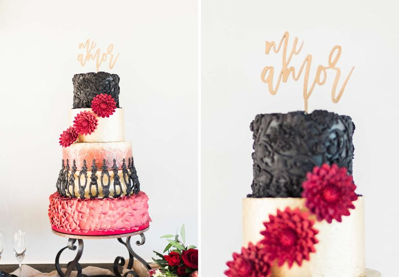 dramatic red, black and gold wedding cake with five tiers and gold