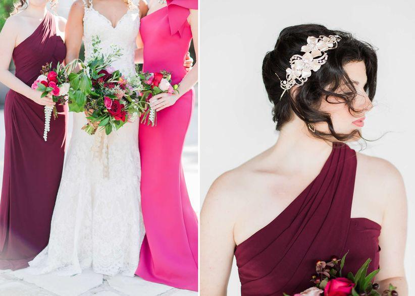 bright pink and maroon bridesmaid dresses
