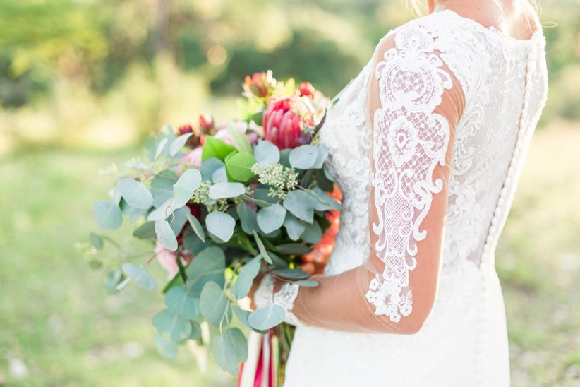netted lace wedding dress