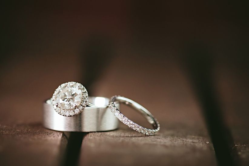 round cut engagement ring with halo