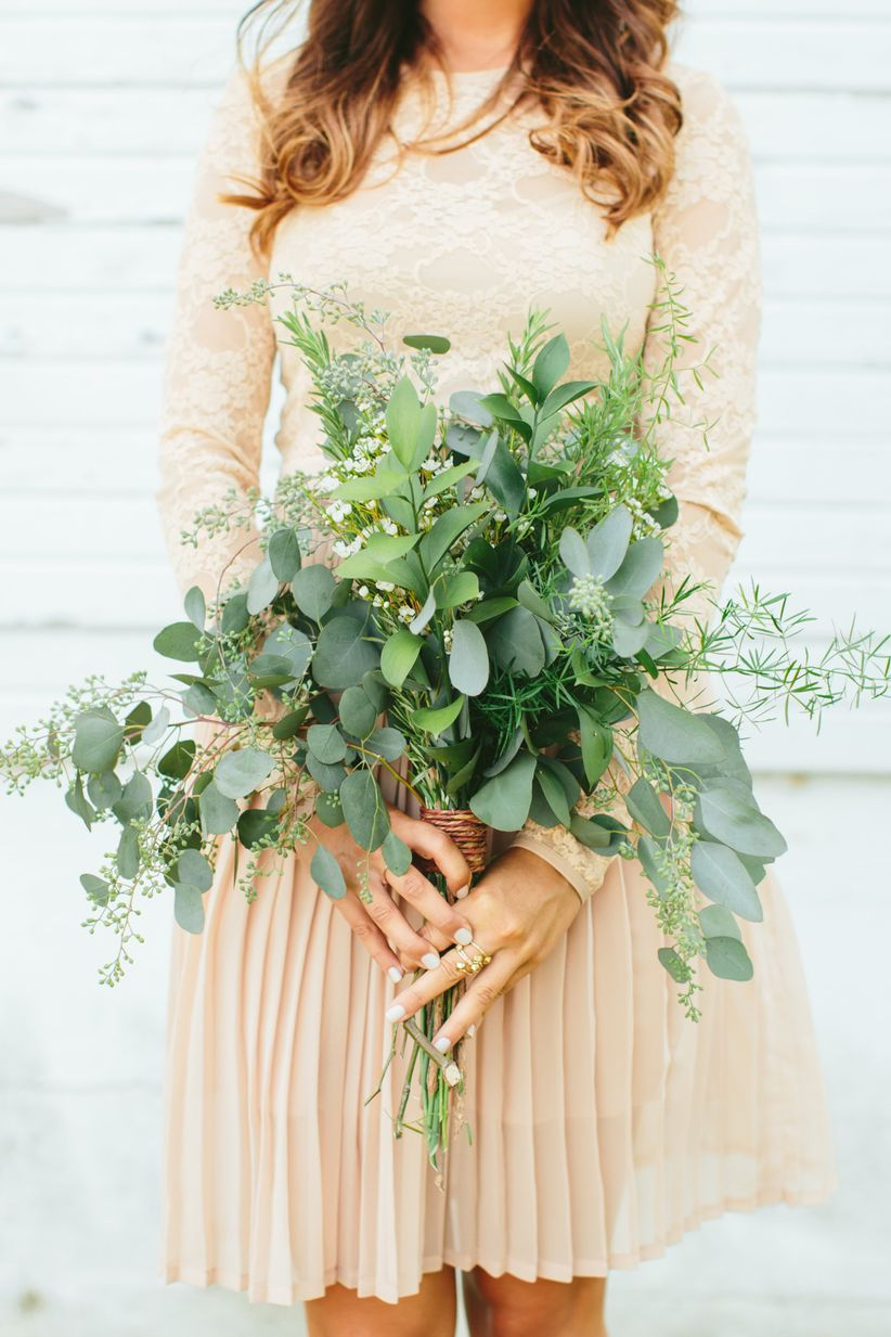 bohemian bridesmaid bouquet with greenery and eucalyptus