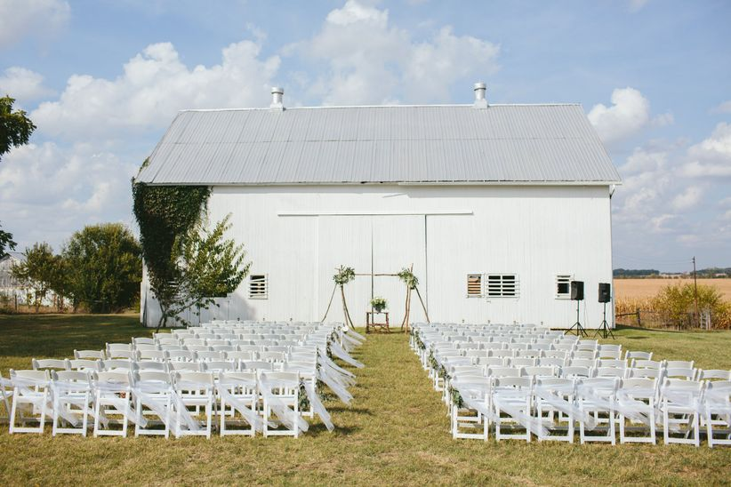 rustic white barn in ohio countryside
