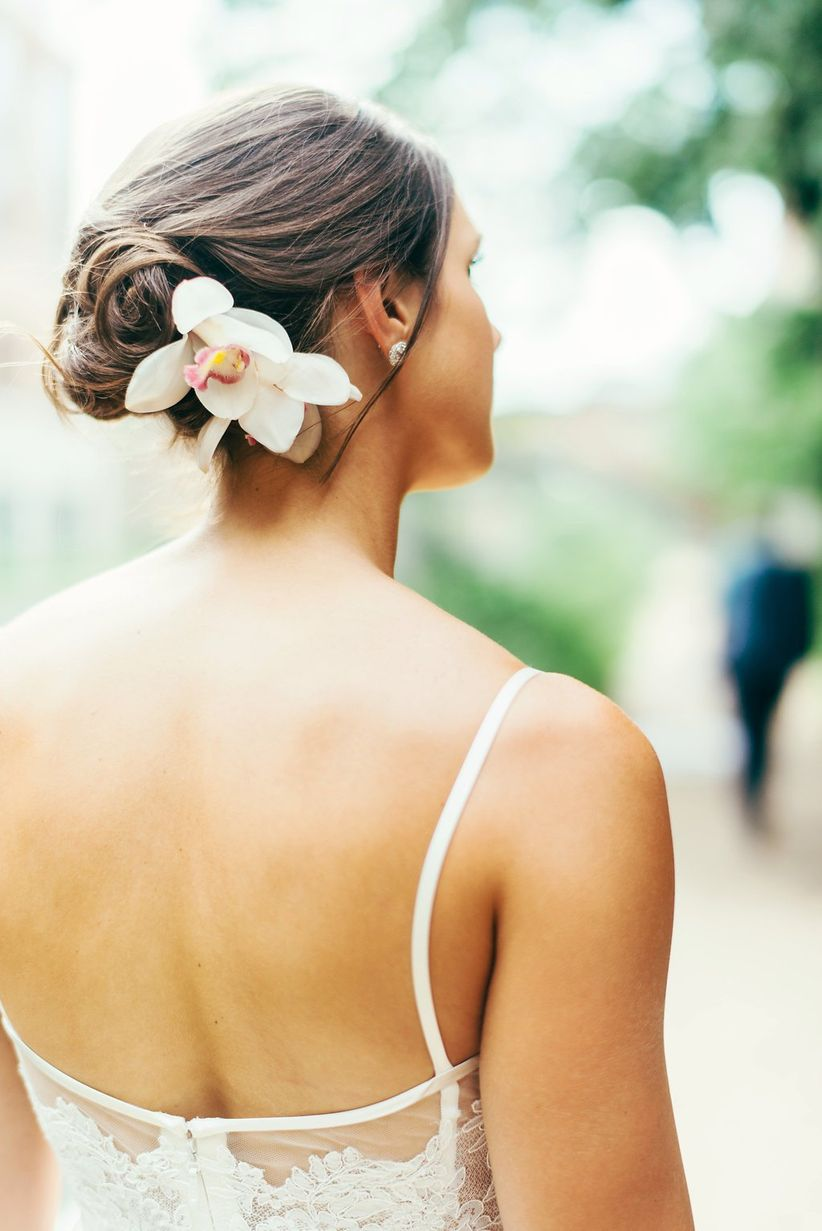 summer wedding updo with flowers