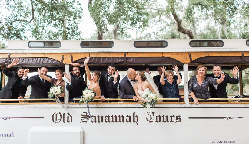 Old Savannah Tours wedding party transportation in vintage trolley car