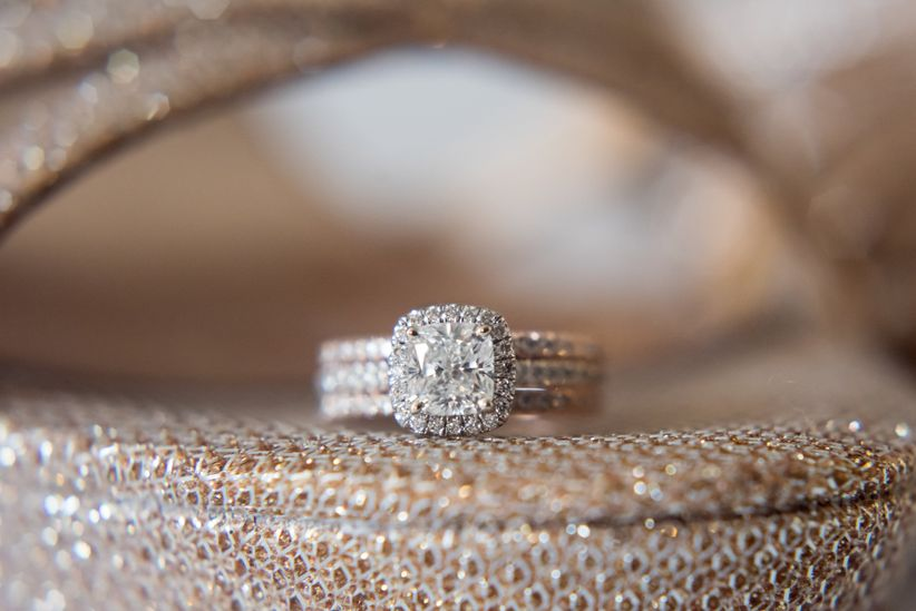 Engagement ring cushion cut with halo