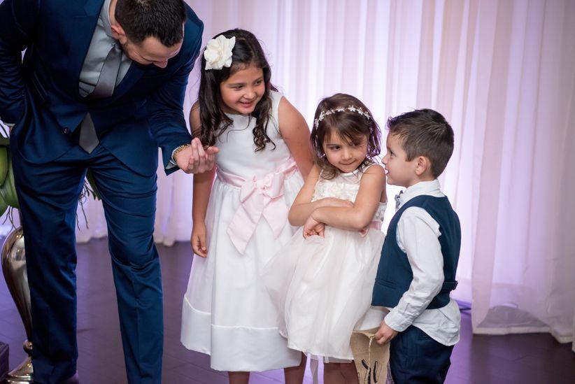 flower girls and ring bearer at wedding